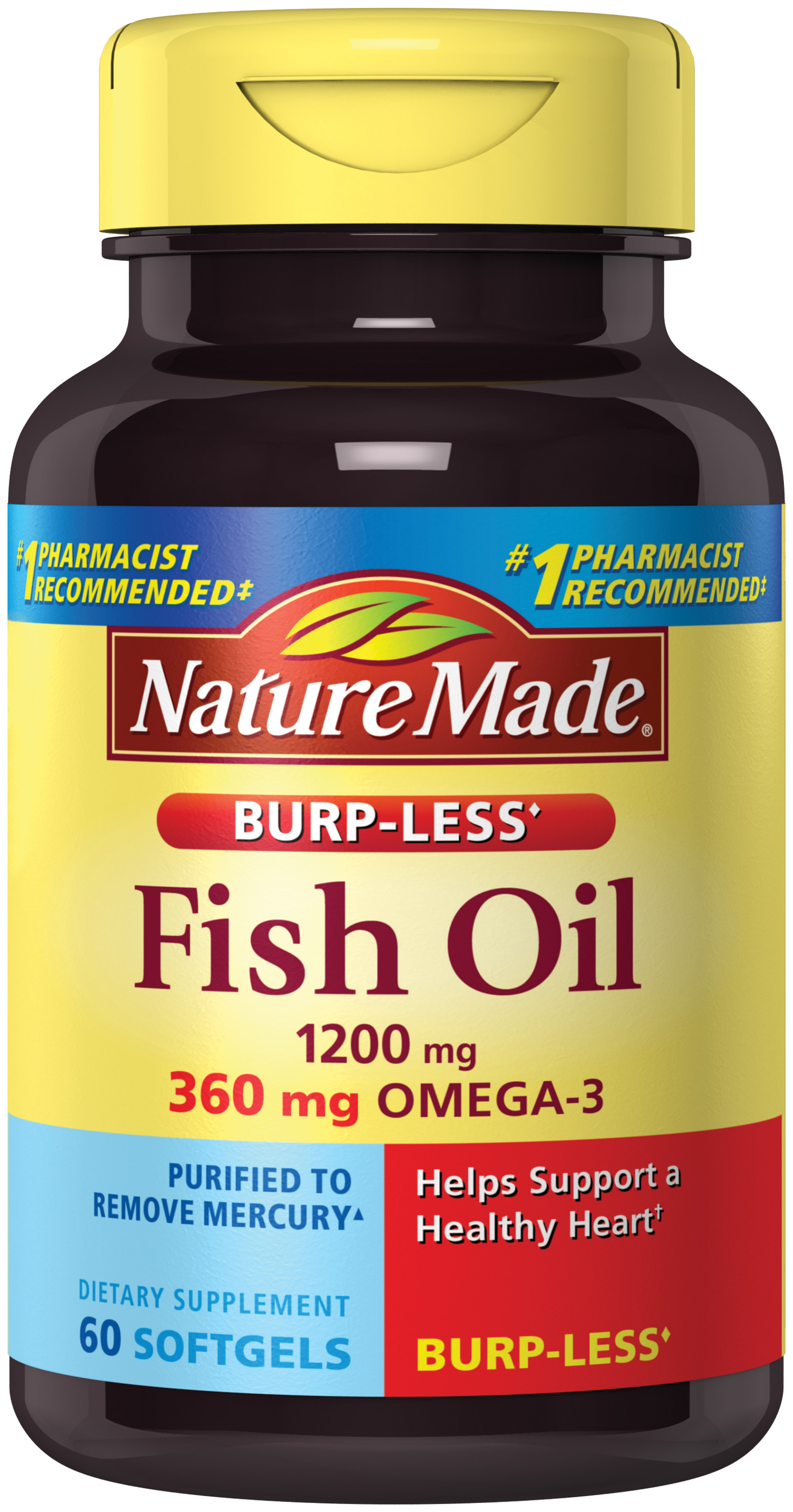 Nature Made® Fish Oil 1200 mg Burp-Less♢ Softgels (60 Count